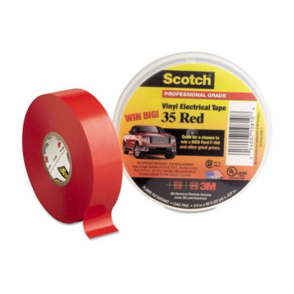 Scotch® Vinyl Electrical Tape Red( 34 in. x 66 ft. x 7 mil) (1)